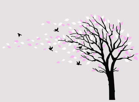 Large Tree Blowing in The Wind Tree Wall Decals (Black White Pink)