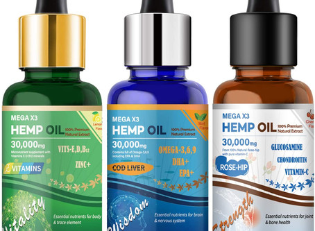 (3-Pack) 30000MG Hemp Oil for Pain and Stress Relief, Sleep, Anxiety and Mood Support
