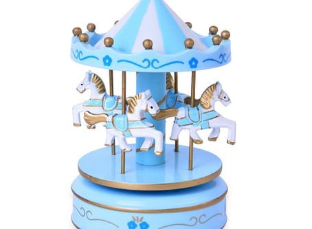 Blue White 4 Horse Wooden Circus Carousel Musical Box