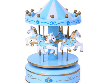 Blue White 4 Horse Wooden Circus Carousel Musical Box