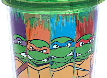 Silver Buffalo Nickelodeon TMNT Character Swipe Jumbo Cold Cup with Lid and Straw, 32 oz