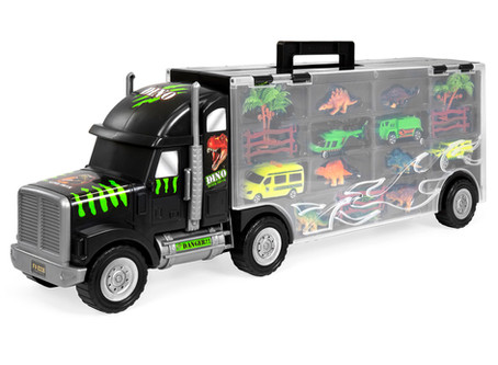 Best Choice Products 22in 16-Piece Kids Giant Transport Carrier w/ Dinosaurs, Helicopter, Jeep, Cars