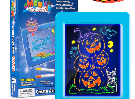Obuby Kids Magic Pad Light Up Glow Drawing Board LED Draw Sketch Tablet