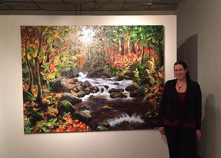 """Sarah Hathaway with her painting""""Waldeinsamkeit"""" Conflux Art Exhibition,2016, Tempe, AZ"""