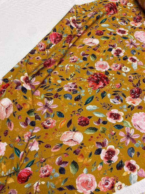 Organic Jersey - Floral on ochre