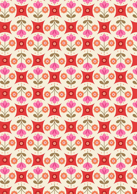 Fab Floral circles on Red