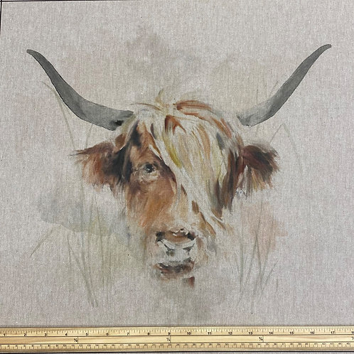 Highland Cow cushion panel
