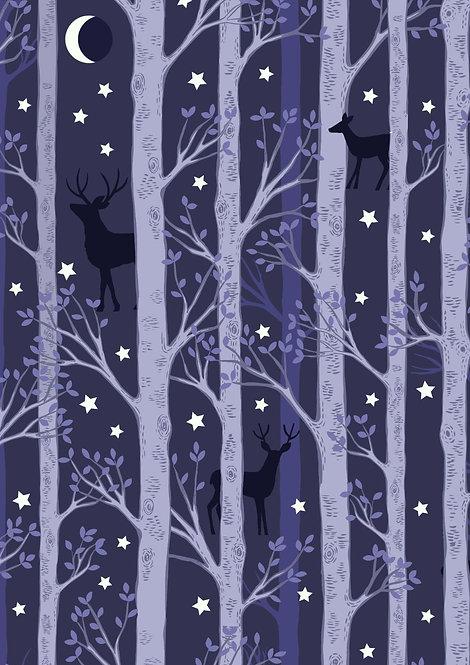 Forest Deer on Midnight Blue