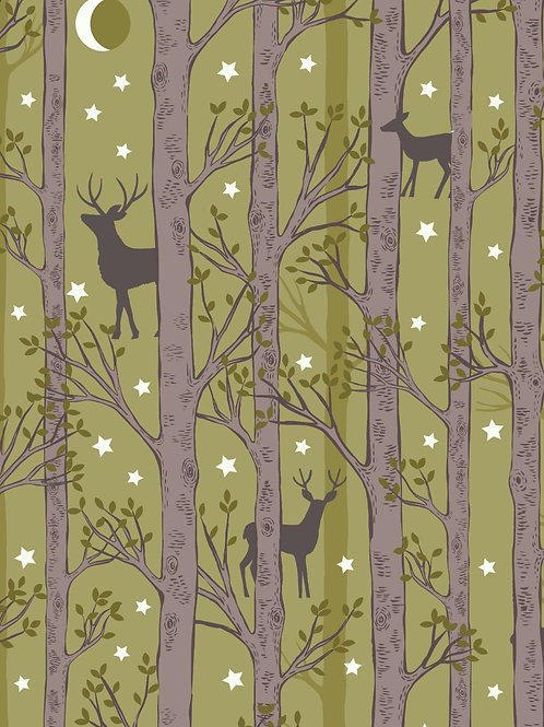 Forest Deer on Leaf Green
