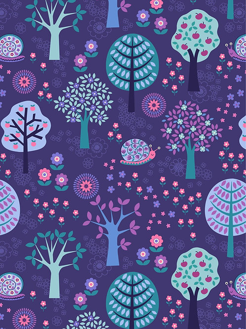 Groovy Forest on Dark Blue