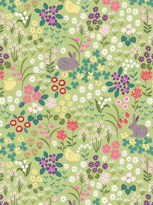Bunny chick floral on spring green