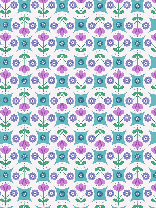 Fab Floral circles on Blue