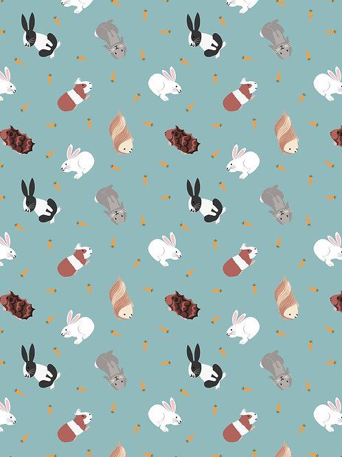 Rabbits on Turquoise