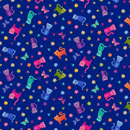 Scattered cats on blue