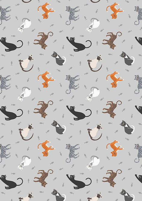 Cats on Pale Grey
