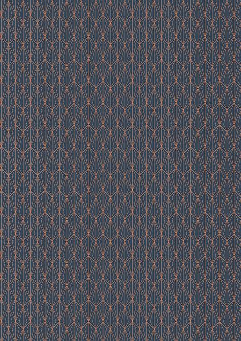 Copper geometric on navy
