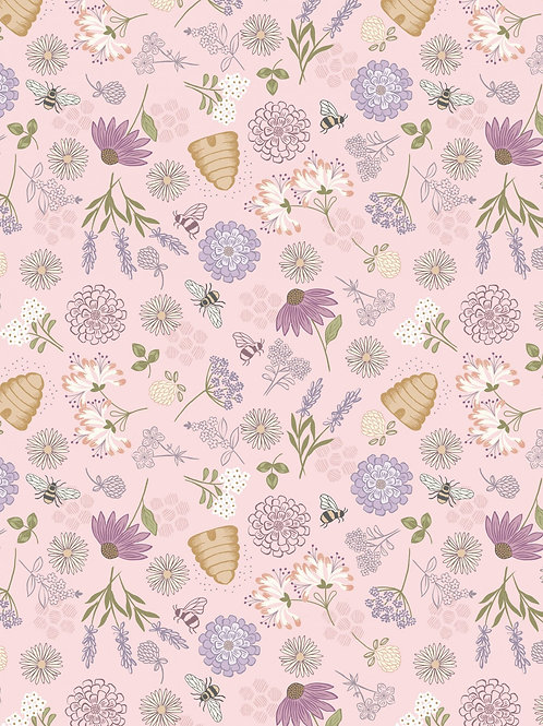Bee floral on pink