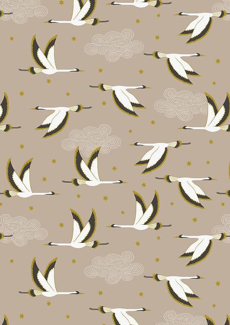 Flying Heron on beige