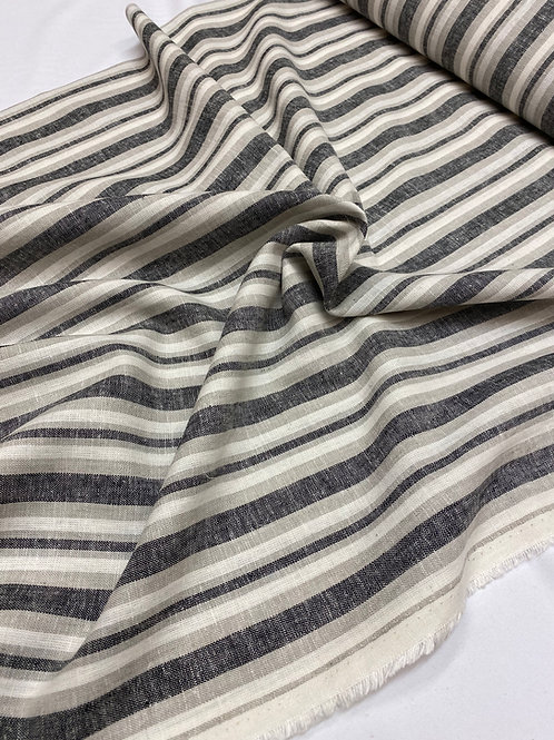 Grey stripe linen/viscose mix