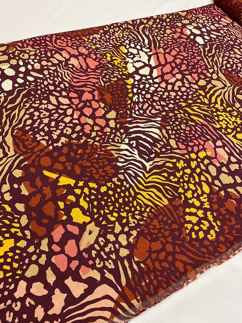 Terracotta animal print linen mix