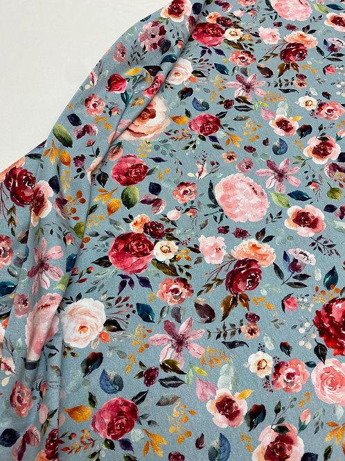 Organic Jersey - Floral on dusky blue