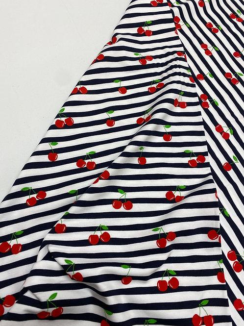 Navy stripe and cherries