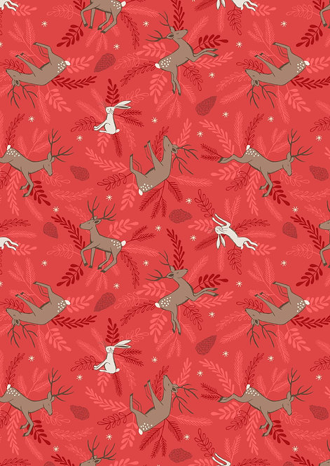 Deer and Hare on red