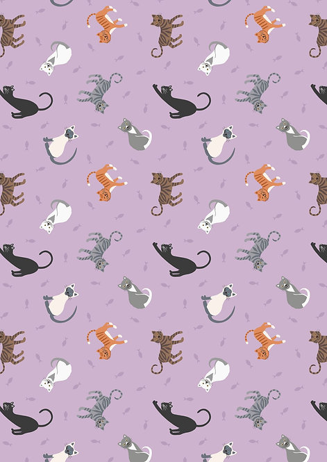 Cats on Warm Lilac