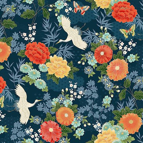 Large floral navy blue