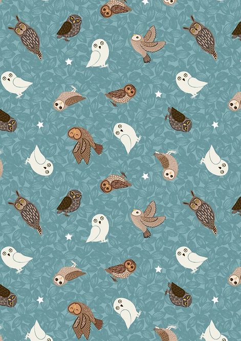 Glow Owls on Blue