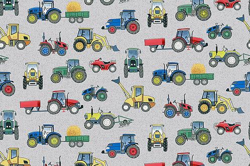 Tractors on Grey