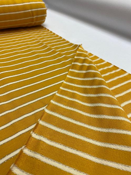 Mustard Lurex Stripe French Terry