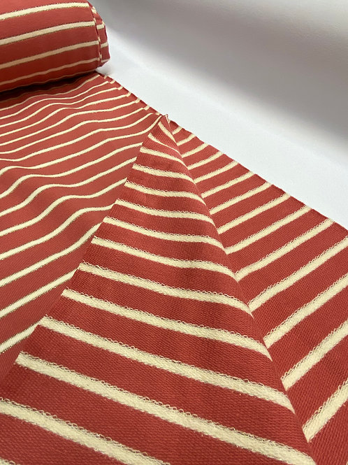 Coral Lurex Stripe French Terry