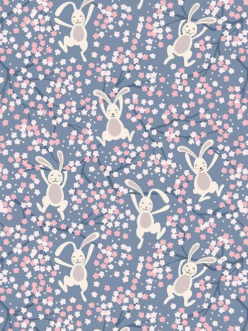 Swinging Bunnies on denim blue