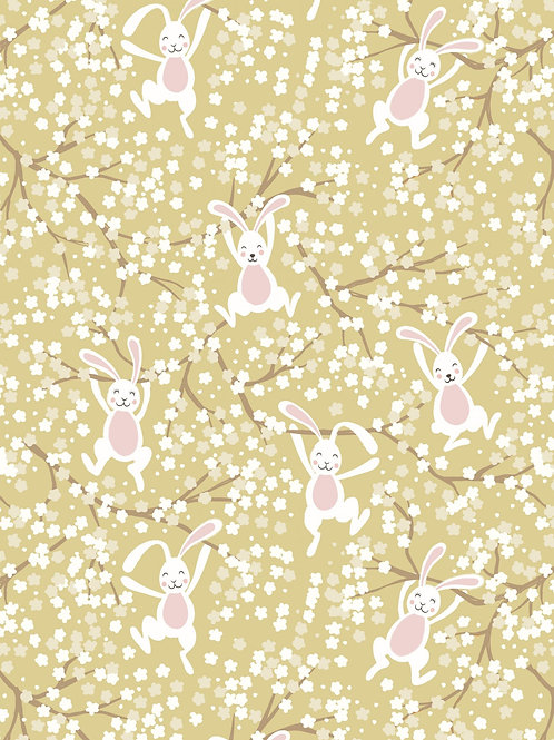 Swinging Bunnies on spring yellow