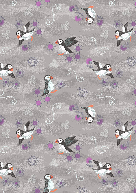 Puffins on warm grey