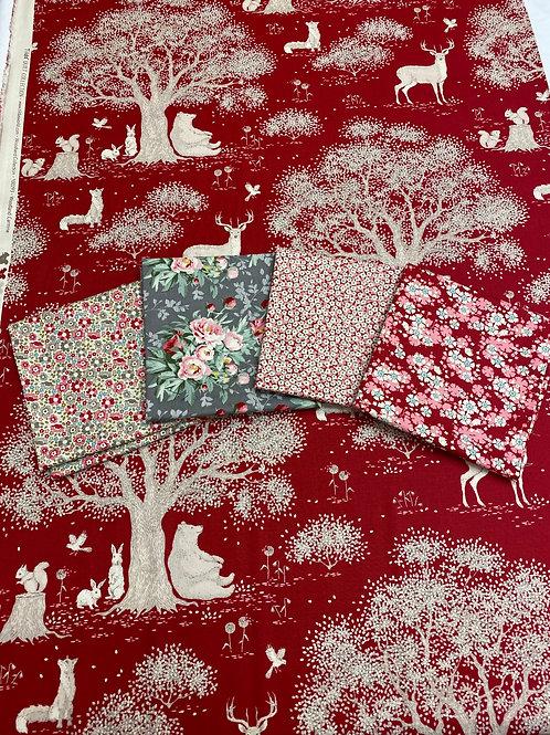 Red woodland fat quarter bundle
