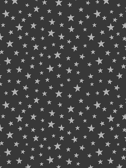 Silver star on black