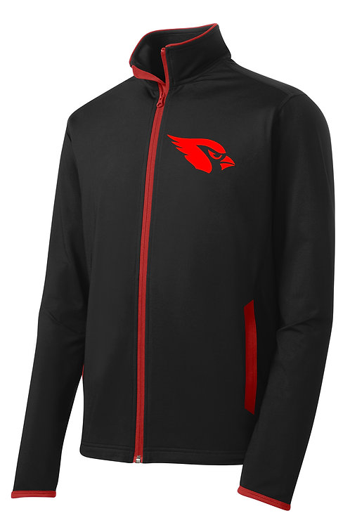Stretch Contrast Full-Zip Jacket - Black