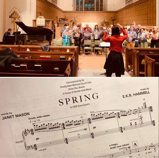 "Choral rehearsal of commissioned work ""Spring"" - Timothy Eaton Memorial Church Choir"