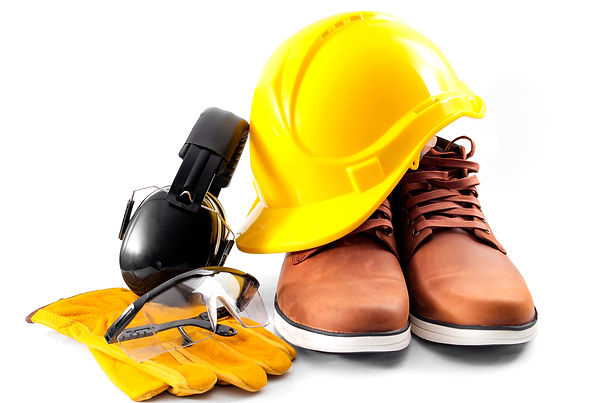 Work safety concept with hard hat, prote