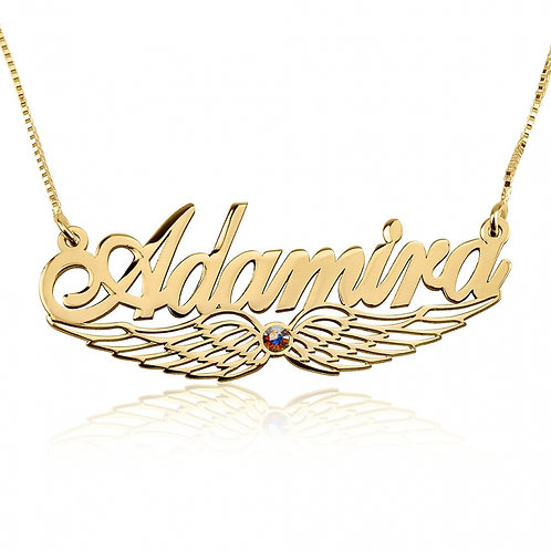 Angel Wing Name Necklace w/birthstone