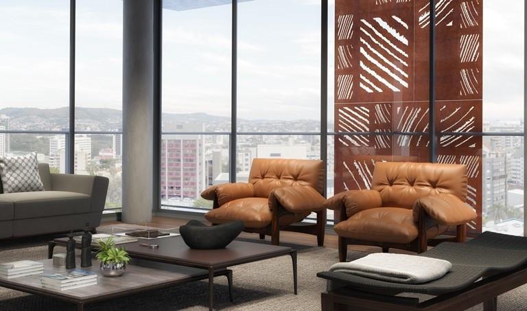 Sala de estar com vista externa e brise
