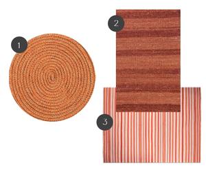 Composição de tapetes nas tonalidades coral. Criação autoral.