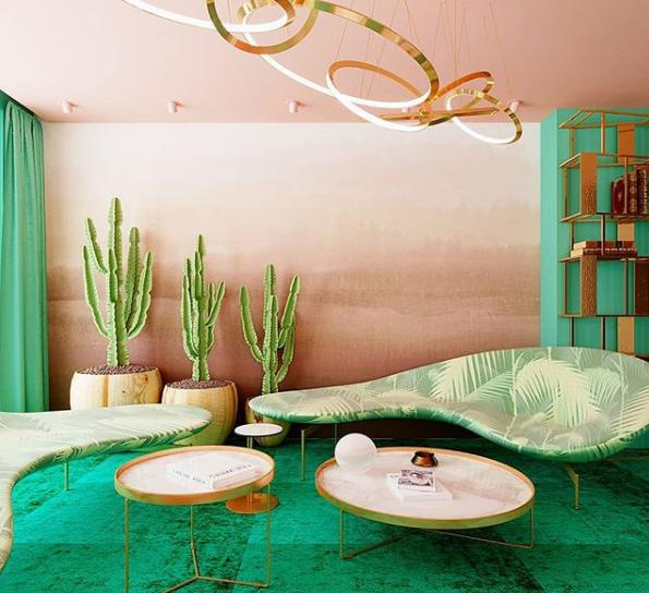 Lounge rosé e verde