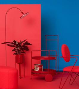 Composição decoração de interiores azul e vermelho