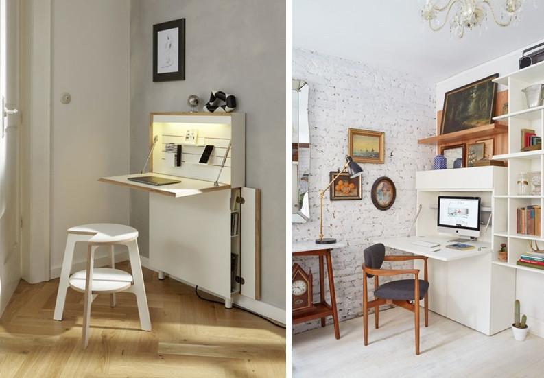 Mesas multifuncionais e retráteis para o home office.