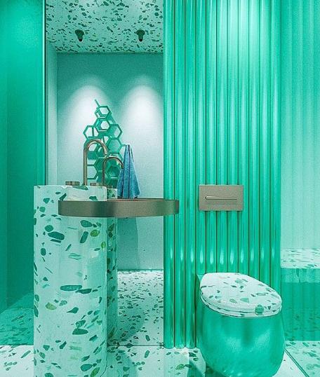 Lavabo verde com granilite futurista