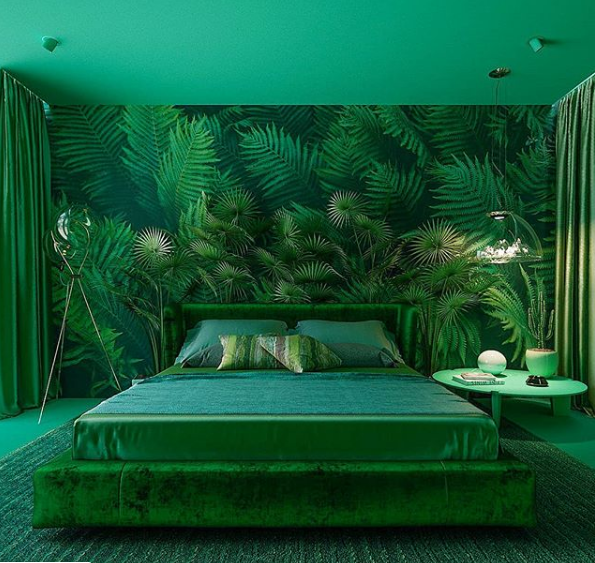 Dormitório estilo tropical monocromático