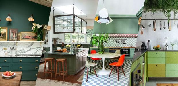 Cozinhas em tonalidades de verde